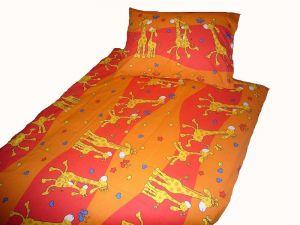Bavlnené obliečky do postieľky Žirafy oranžovej
