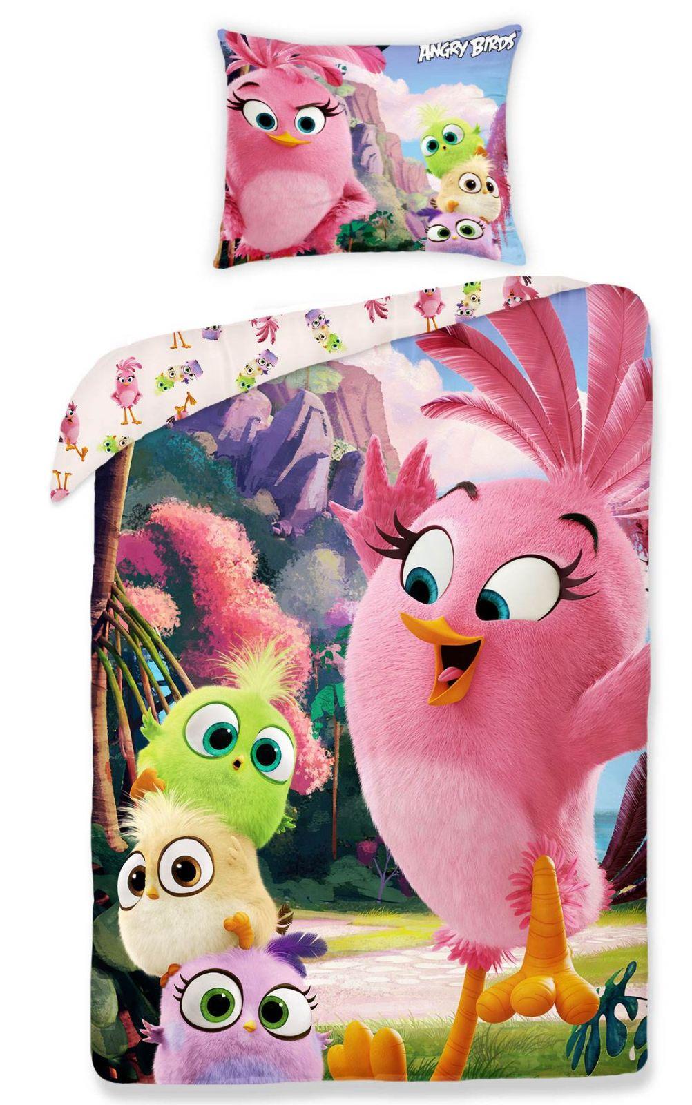 Obrázok vtáčikov na bavlnených detských posteľných obliečkach Angry birds 1155, Halantex