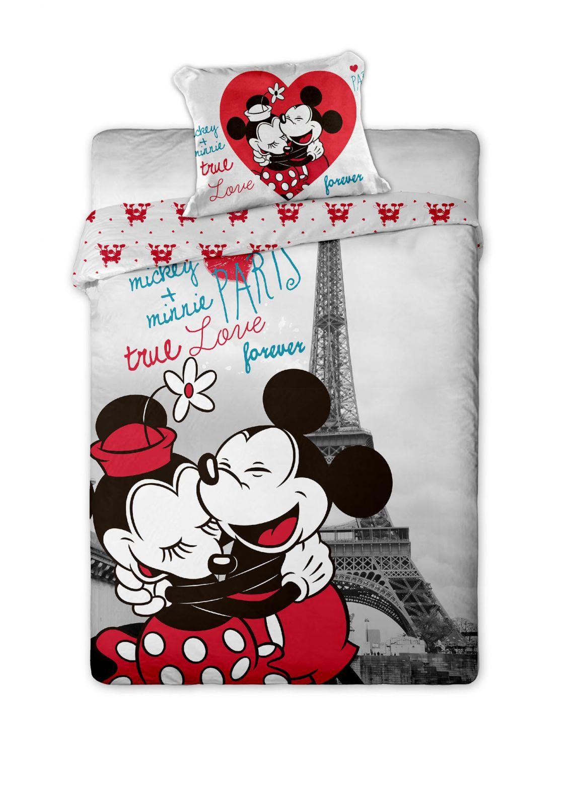 Dětské bavlněné povlečení Mickey and Minnie v Paříži
