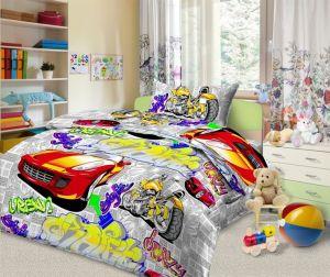 Bavlnené posteľné obliečky Autá biela