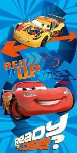 Motív áut na modrom podklade pri plážovej detskej osušky Cars duo, Jerry Fabrics