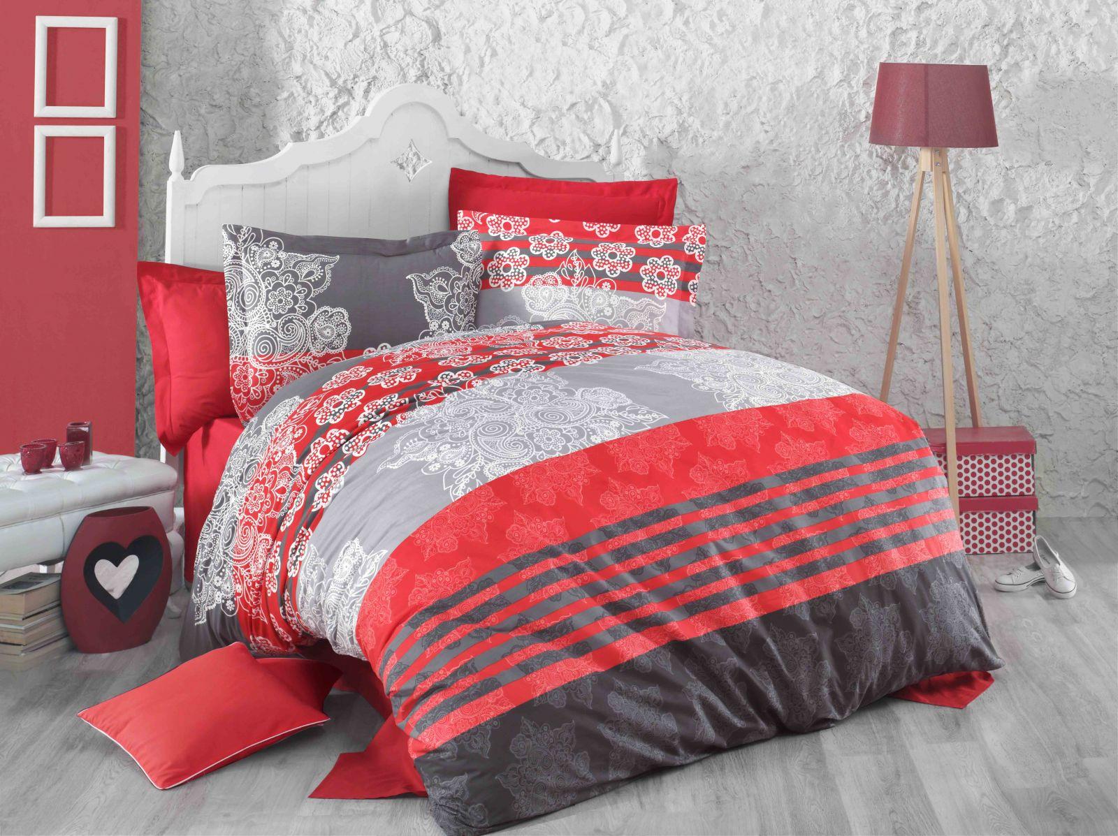 DELUX RED STRIPES bavlněné povlečení