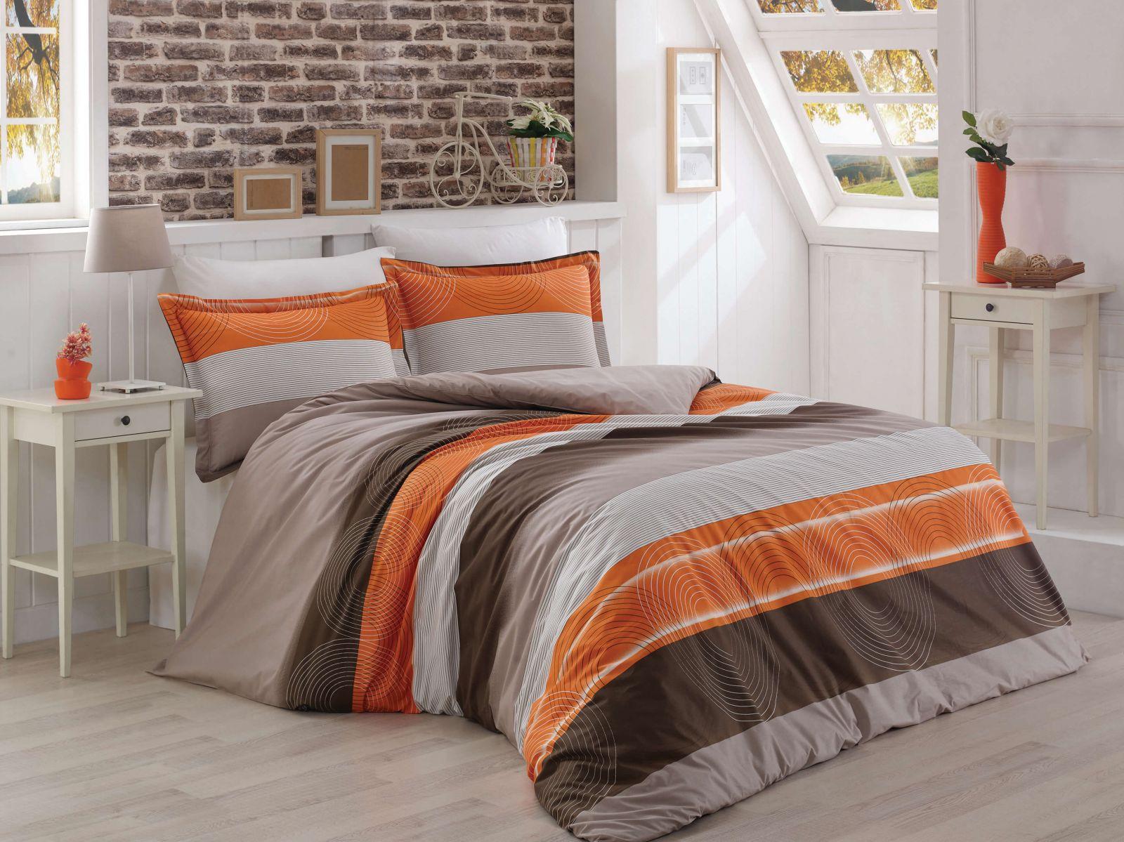 f5b68bb01 Bavlnené posteľné obliečky s motívom pruhov DELUX SALMON STRIPE ...