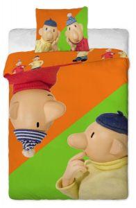 Nerozlučný kutilovia na kvalitných detských bavlnených obliečkach Pat a Mat orange Jerry Fabrics