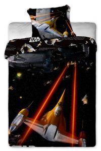 Kozmické lode na pekných detských bavlnených posteľných obliečkach Star Wars spaceships Jerry Fabrics