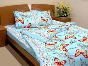 Bavlnené obliečky Motýlikovia modrí