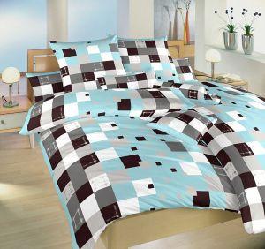 Motív farebných kociek na krepových posteľných obliečkach Brusel modrý, Dadka