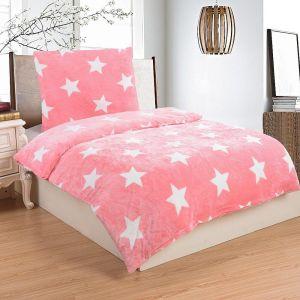 Mikroflanelové obliečky Stars pink