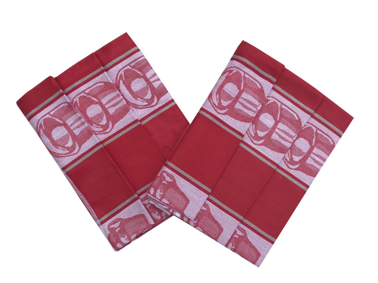 S motívom hrnčekov kvalitné kuchynská bavlnená utierka Čajová súprava červená - 3 ks, Svitap