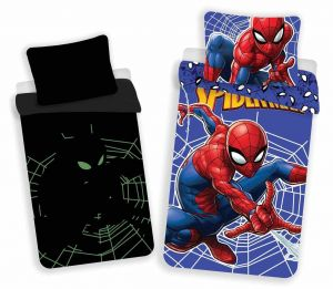 Bavlnené obliečky Spiderman svietiaci efekt