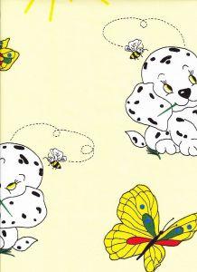 Detské bavlnené posteľné obliečky do postieľky Psík a motýľ žltý, Dadka