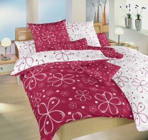 Obojstranné bavlnené posteľné obliečky Pětilístek biely / vínový DUO, Dadka