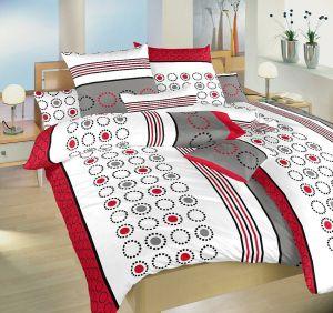 Kvalitné saténové posteľné obliečky s geometrickými tvarmi na bielom podklade Kolotoč vínový, Dadka