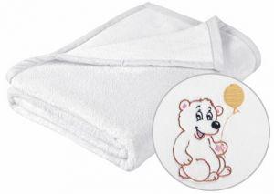 Detská prikrývka MICRO s výšivkou medvedíka v bielom