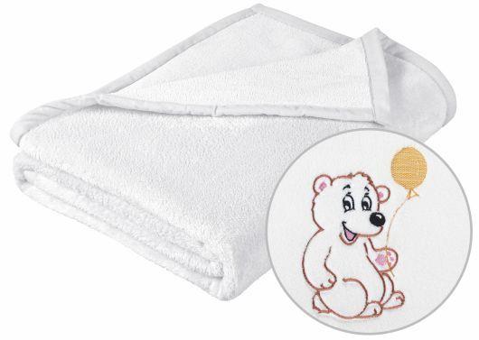 Jemne zamatová detská prikrývka v bielej farbe s výšivkou medvedíka, Kvalitex