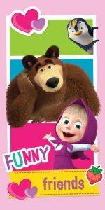 V pestrých farbách kvalitné detská plážová osuška Máša a Medveď Friends, Jerry Fabrics