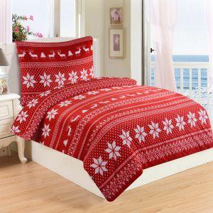 Vianočné obliečky mikroflanel Winter v červenej farbe s motívom vločiek a sobov, | 140x200, 70x90 cm