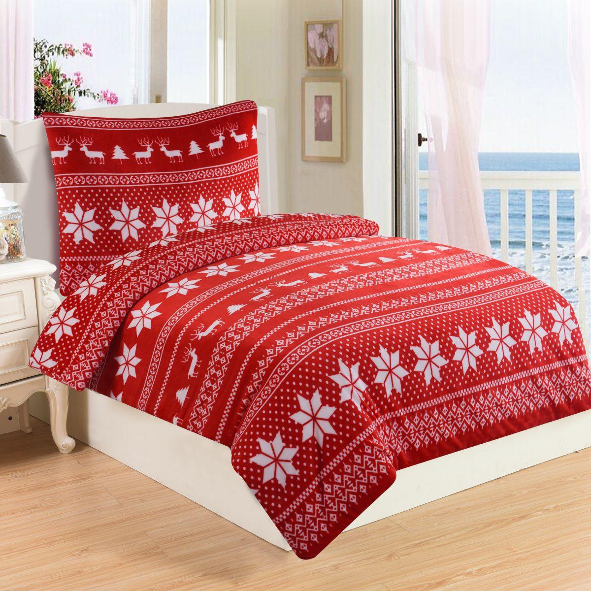 Vianočné obliečky mikroflanel Winter v červenej farbe s motívom vločiek a sobov, Jahu