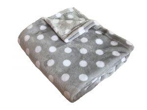 S motívom veľkých bodiek kvalitná super soft deka Bodky biely / sivá, Dadka