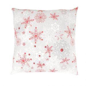 Vianočné bavlnené obliečky VLOČKY červenošedý s bielymi a červenými vločkami na bielom pozadí, Kvalitex