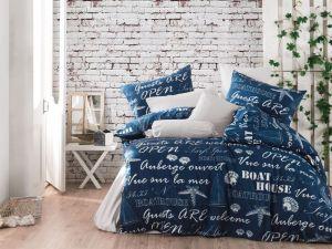 Bavlnené obliečky Lode modré