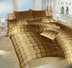 S geometrickým motívom kvalitné bavlnené posteľné obliečky Čokoláda hnedá, Dadka