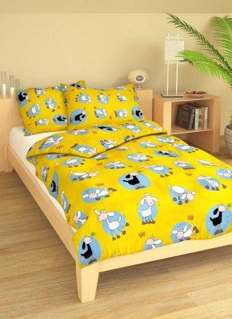 Pre bábätká kvalitné bavlnené posteľné obliečky do postieľky Ovečky žltej, Hybler textil