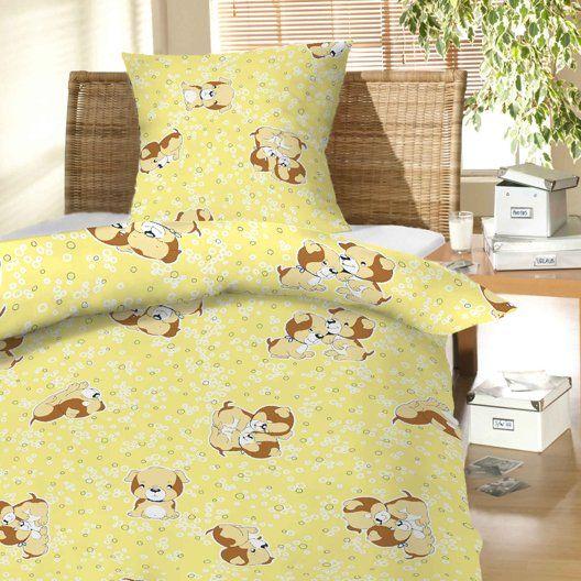 Na žltom podklade vzor psa u detského bavlnenej posteľnej obliečky do postieľky Šteňa žltej, Hybler textil
