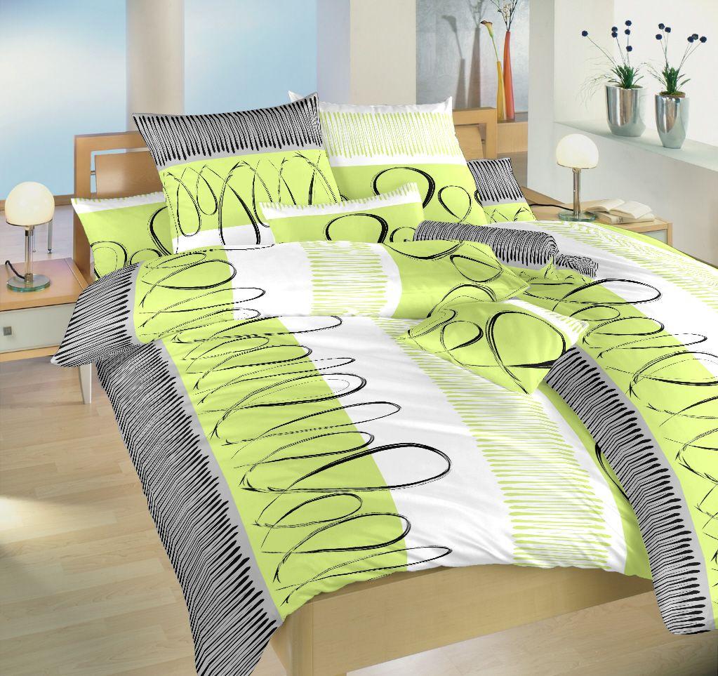 Moderné bavlnené posteľné obliečky Evelína kivi, Dadka