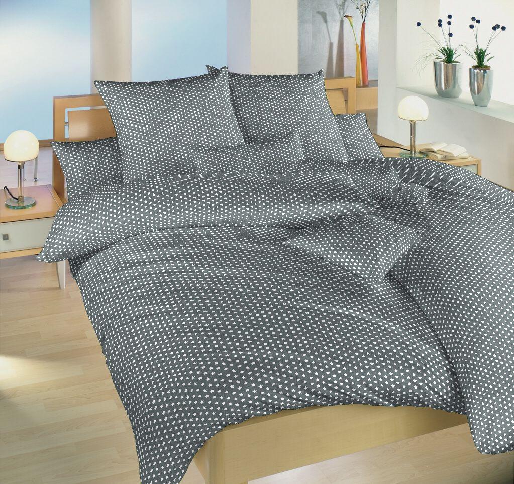 Českej výroby kvalitné bavlnené posteľné obliečky Hviezdička biela na šedom, Dadka
