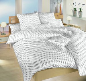 Českej výroby kvalitné bavlnené posteľné obliečky Hviezdička šedá na bielom, | 140x200, 70x90 cm, 140x220, 70x90 cm, 40x40 cm povlak, 40x50 cm povlak