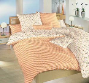 Bavlnené obliečky Kvetinky oranžovej / Prúžky