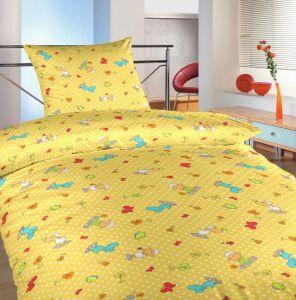 Na žltom podklade motív farebných ovečiek na bavlnených posteľných obliečkach Ovečky malé žlté, | 140x200, 70x90 cm