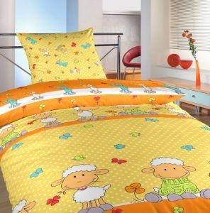 Detské bavlnené posteľné obliečky Ovečky veľké žlté, | 140x200, 70x90 cm