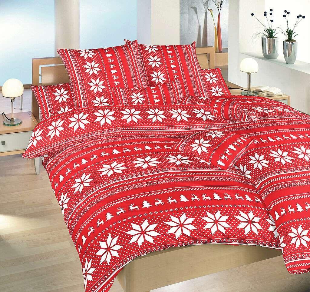 Krásne bavlnené obliečky s vianočným motívom Sobi červení, Dadka