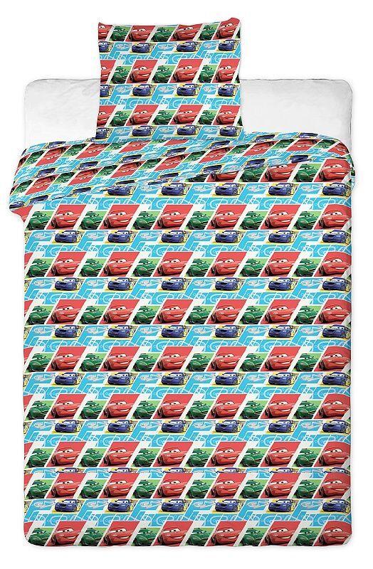Autíčka na detskom bavlnenom posteľných obliečkach do postieľky Cars blue kids 2013, Jerry Fabrics