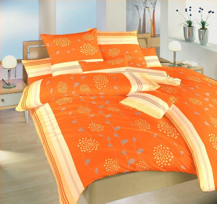 S kvetinovým motívom pekné krepové obliečky Liana oranžová, Dadka