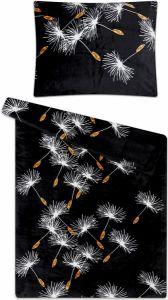 Nádherné čierne mikroflanelové obliečky s bielymi púpava, | 140x200, 70x90 cm