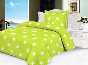 Hrejivé mikroflanelové obliečky v zelenej farbe s potlačou hviezd, | 140x200, 70x90 cm