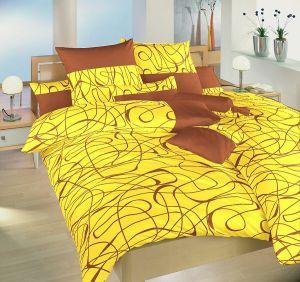 V kombinácii farieb žltej a nugátu saténové obliečky Balerína žltá, | 140x200, 70x90 cm