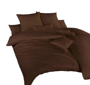 V prírodnej tmavej farbe luxusné hnedé saténové posteľné obliečky, | 140x200, 70x90 cm