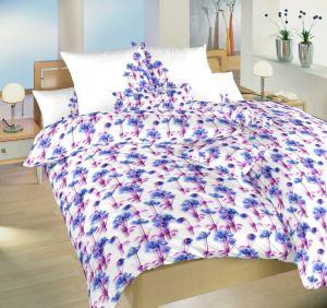 Krásne rozkvitnuté saténové obliečky Spring blue | 140x200, 70x90 cm