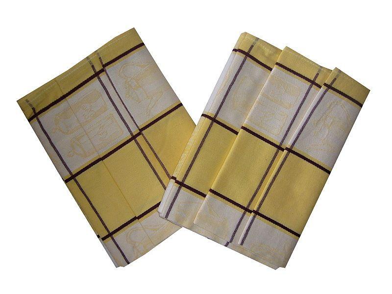 Veľké kocky vo farbe bielej a žltej na utierke Čajová súprava žltá, Svitap