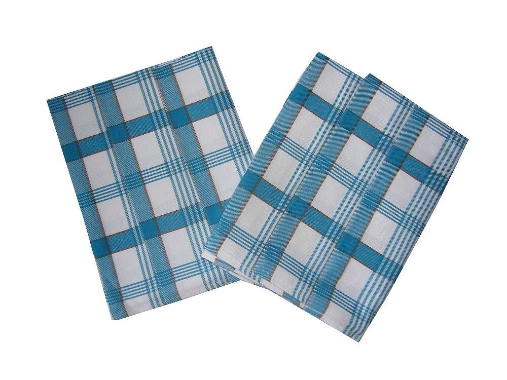 V modrobielej farbe ladená utierka z bavlny Káro modré 3 ks, Svitap