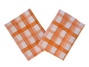 Utierka Ba Extra savá 50x70 Káro oranžové 3 ks