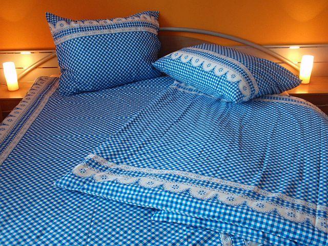 Kanafas modrý bavlněné ložní povlečení