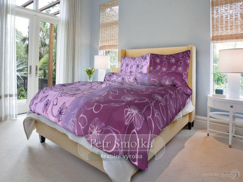 Nové stvoly fialové bavlněné ložní povlečení