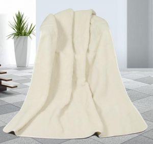 Vlnená deka 155 x 200 cm biela - európske merino