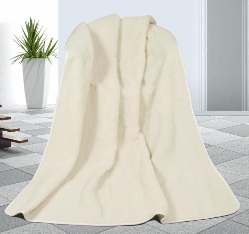 Vlněná deka 155 x 200 cm bílá - evropské merino