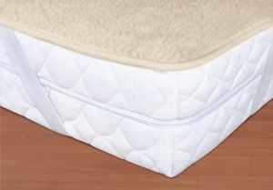 Vlnený matracový chránič 90 x 200 cm béžový - európske merino